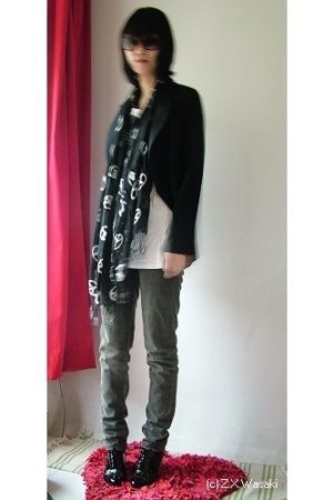 scarf - t-shirt - jacket - Miss Sixty jeans - shoes - sunglasses