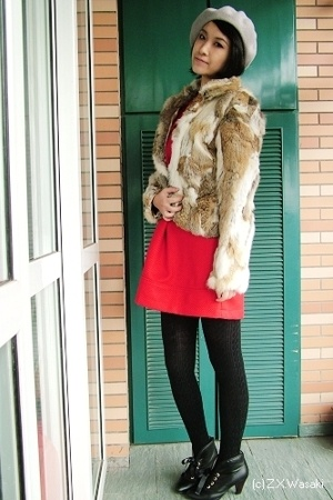 hat - coat - dress - tights - boots