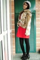 hat - coat - dress - tights - boots