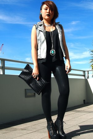 light blue studded vest Self studded vest vest - black clutch Sportsgirl purse