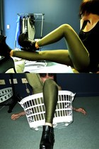 olive green American Apparel leggings - black Ebay boots