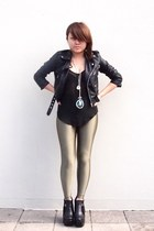 olive green shiny leggings American Apparel leggings