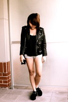 black leather jacket Idle Minds jacket - black black creepers creepers flats