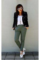 white white shades Nasty Gal sunglasses - black leather jacket Nasty Gal jacket