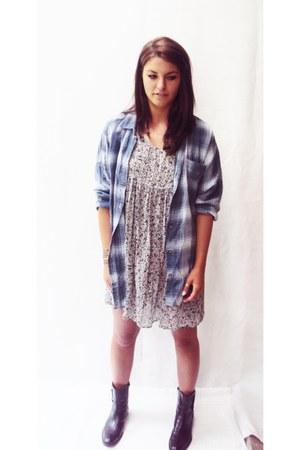 babydoll sheer Vintage Thrifted dress - flannel Vintage Thrifted top