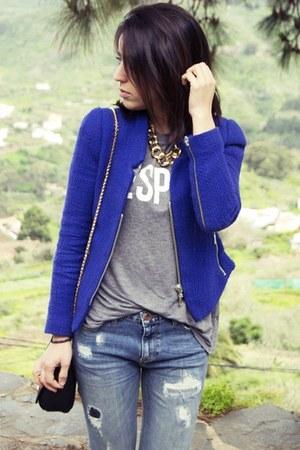 Zara jacket - pull&bear jeans - Zara shirt - Parfois bag