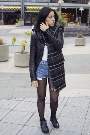Zara jacket - Oysho tights - Zara scarf - Levis shorts