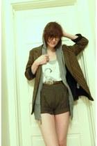 dark brown thrifted blazer - army green Sparkle & Fade shorts