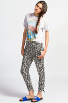 Back Bow Floral Print Pants