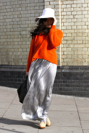 carrot orange angora H&M sweater - tan new look boots