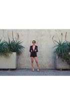 black bodysuit Missguided bodysuit - voilet velvet BCBG blazer