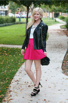 black leather jacket Forever 21 jacket - white graphic tee Forever 21 t-shirt