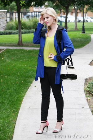 black cigarette pants Dailylook pants - blue trench coat WearInLA coat