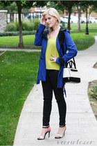 black cigarette pants Dailylook pants - blue trench coat WearInLA coat