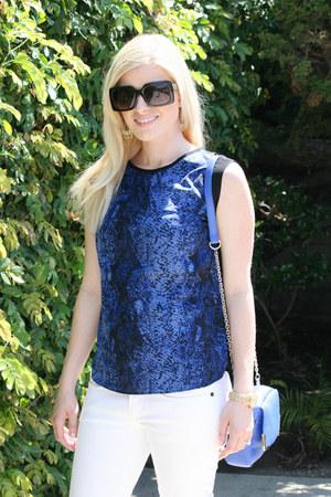 blue snakeskin Walter Baker blouse - white white denim Ralph Lauren jeans