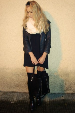 Zara boots - Bershka dress - Zara bag