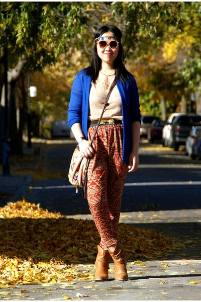 blue Urban Outfitters cardigan - brown Forever 21 boots
