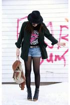 black H&M hat - forest green Urban Outfitters jacket - light brown Aldo bag