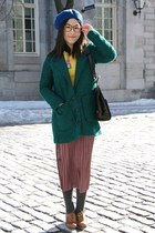 light purple Urban Outfitters skirt - teal Urban Outfitters coat - blue H&M hat