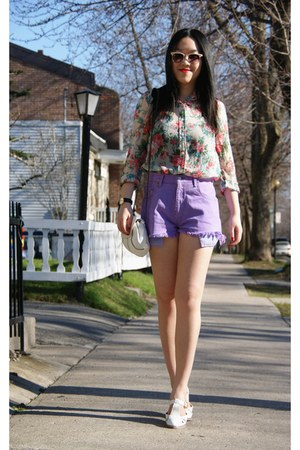 white Top Shop shoes - white Urban Outfitters bag - amethyst Levis shorts