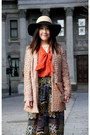 Peach-urban-outfitters-coat-camel-urban-outfitters-hat