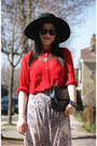 Black-h-m-hat-red-urban-outfitters-shirt-black-chanel-bag