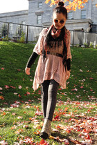 light pink Forever 21 cape - red H&M scarf