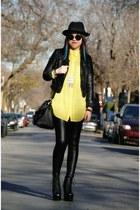 black Jeffrey Campbell boots - black H&M hat - black leather H&M jacket