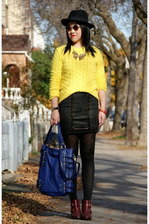 brick red Topshop boots - black H&amp;M hat - yellow JCrew sweater