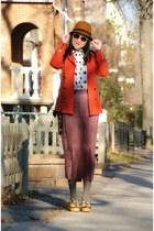 gold Irregular Choice shoes - gold H&M hat - carrot orange H&M blazer