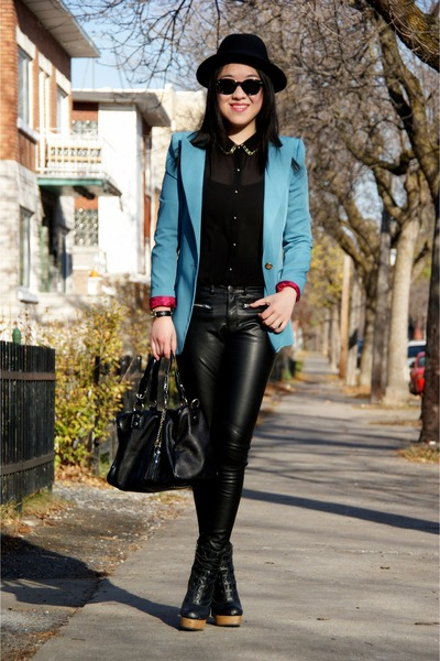 sky blue Olivia blazer - black H&M hat - black H&M pants