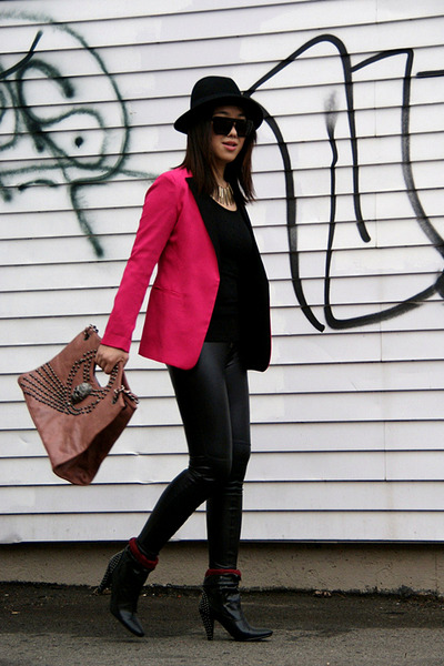 hot pink Zara blazer - black Lollipops boots - black H&M hat