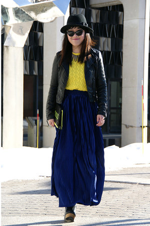 blue American Apparel skirt - black H&M jacket - yellow JCrew sweater