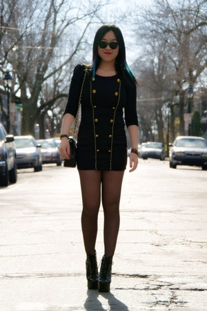 black Jeffrey Campbell boots - black Olivia dress - black Chanel bag
