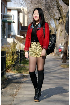 black Urban Outfitters boots - red Forever 21 jacket