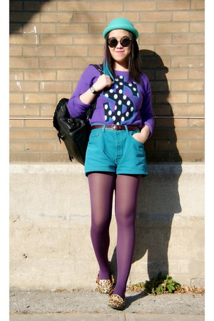 purple H&amp;M sweater - turquoise blue H&amp;M hat - amethyst Urban Outfitters tights