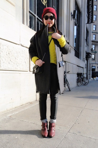 maroon Topshop boots - dark gray H&M coat - maroon beanie American Apparel hat