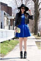 blue asos dress - black Topshop boots - black H&M hat - black H&M jacket