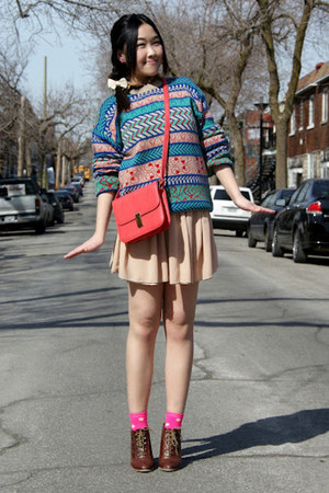 teal Urban Outfitters sweater - neutral American Apparel skirt
