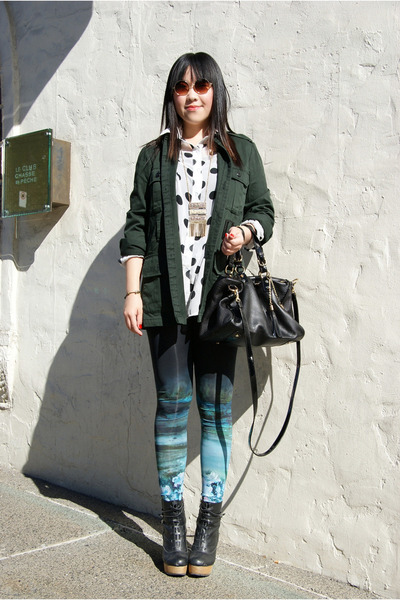 dark green Urban Outfitters jacket - teal H&M leggings