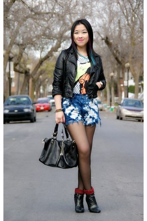 black stunned Lollipops boots - black H&M jacket - navy Urban Outfitters shorts