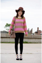 H&M hat - stripes H&M sweater - H&M leggings