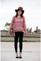 H&M hat - stripes H&M sweater - H&M leggings