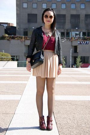 neutral American Apparel skirt - maroon Topshop boots - black lace H&M jacket