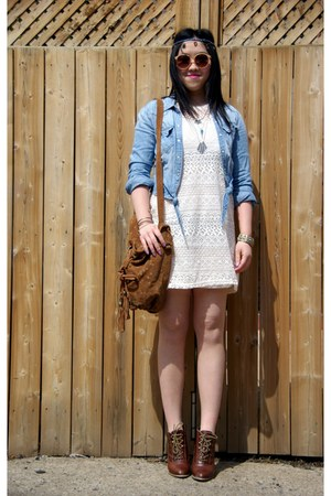 white lace H&amp;M dress - light blue denim H&amp;M jacket - brown Lollipops bag