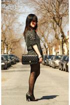 black Chanel bag - gray Surgarlips sweater - black Lollipops heels
