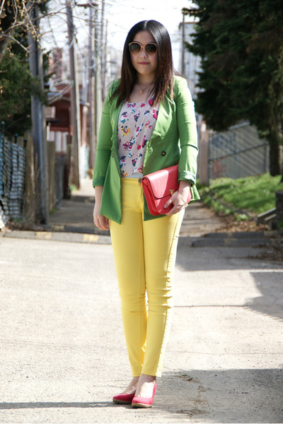 chartreuse blazer - hot pink bag - yellow panties