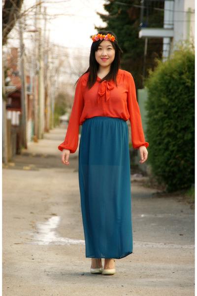 carrot orange H&M blouse