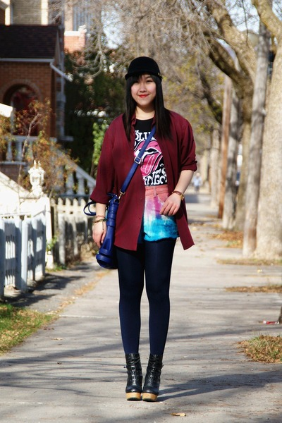 black Urban Outfitters boots - black H&amp;M hat - crimson Forever 21 shirt