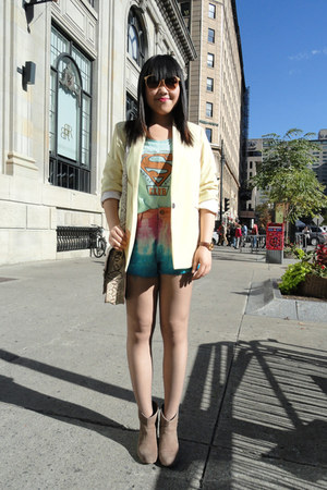 tan Urban Outfitters boots - light yellow American Apparel blazer